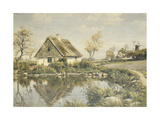 A Cottage by a Pond Reproduction procédé giclée par Peder Mork Monsted