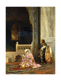 A Turkish Lady Praying in the Green Mosque, Bursa Reproduction giclée Premium par Stanislaus Chlebowski