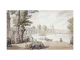 The Old Swan Inn, with a View of Putney bridge beyond Giclee Print by Thomas		 Rowlandson