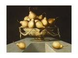 Pears in a Bowl on a Stone Plinth Giclee Print by (attributed to) Antonio Mohedano