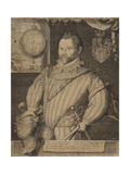 Portrait of Sir Francis Drake Giclee Print by Hondius Jodocus