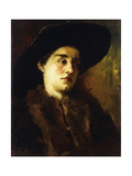 Portrait of a Lady, Wearing a Fur Coat and Black Hat Giclee Print by Wilhelm		 Trubner