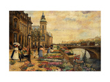A Flower Market on the Seine Giclee Print by Checa y Sanz Ulpiano