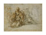 The Meeting of the Infant Saint John the Baptist with the Holy Family Attended by Angels Premium Giclee Print by  Michelangelo Buonarroti