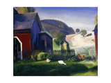 Barnyard and Chickens Impression giclée par George Wesley		 Bellows