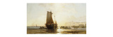 Figures by a Fishing Vessel in a Rocky Coastal Landscape Premium Giclee Print by James Webb