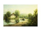 On the Rondout Canal, Rosendale Giclee Print by William Rickarby		 Miller