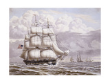 An American Frigate under Sail, with other shipping Giclee Print by Lauritz Rasmus		 Lyngbye