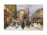 Figures on Le Boulevard St Giclée-Druck von Eugene Galien-Laloue
