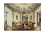 Interior view of the Salon of a Castle in Obertwaltersdorf Poster by Alt Rudolf
