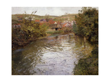 Farmhouses on the Banks of a Stream Reproduction giclée Premium par Thaulow Frits