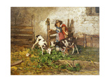 Children and Goats in a Barn Poster by Mose Bianchi