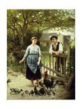 Young Farmers Giclee Print by Edouard Bernard Debat-Ponsan
