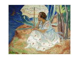 Young woman with an Umbrella, Saint Maxime Poster by Henri		 Lebasque