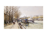 Barges on the Seine Giclee Print by Galien-Laloue Eugene