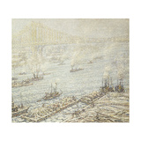 East River, New York, Winter Art by F. Usher Voll