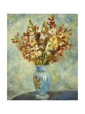 Gladioli in Blue Vase Poster by Pierre-Auguste Renoir