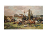 A Market by a Village Prints by Karl		 Stuhlmuller