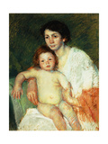Nude Baby on Mother's Lap Resting Her Right Arm on the Back of the Chair Premium Giclee Print by Mary Cassatt