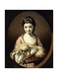 Portrait of Miss Emilia Vansittart wearing a Pink and White Dress holding a Dog Posters by Sir Joshua Reynolds