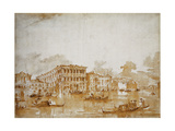 The Grand Canal with the Ca' Pesaro Premium Giclee Print by Francesco		 Guardi