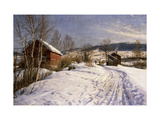 A Winter Landscape, Lillehammer Giclee Print by Peder Mork Monsted