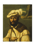 Portrait of a Bearded Gentleman, in a Fur-Trimmed White Jacket and a Plumed Hat Giclee Print by Francesco		 Rondani