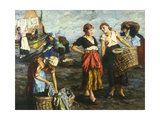 The Laundresses Giclee Print by Ernst		 Voros von Bel