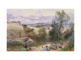 Figures Collecting Faggots by a Road Giclee Print by Myles Birket		 Foster