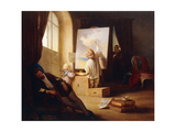 The Sleeping Painter Print by Josef		 Danhauser