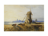 A Distant View of Ely with Windmills at Sunset Posters by Thomas		 Lound