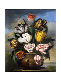 Tulips in a Vase, with a Caterpillar, a Snail, and a Fly, on a Plinth in a Landscape Art by James		 Sillett