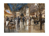 Evening on a Parisian Boulevard Print by Stein Georges