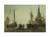 Unloading Fishing Boats on the Quay, Brittany Giclee Print by Hector		 Caffieri