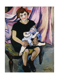 Girl with a Doll; Fillette a la Poupee Giclee Print by Suzanne		 Valadon