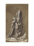Drapery Study for a kneeling figure Art by Leonardo Da Vinci