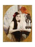 Portrait of a Young Girl at a Desk Giclee Print by Jules Victor		 Verdier