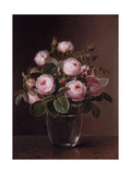 Roses in a Glass Vase Prints by Johan Laurentz		 Jensen