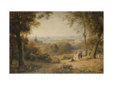 A View of Versailles with Elegant Figures in the Foreground at Sunset Prints by Barret George the Younger