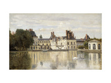 Fontainebleau - View of the Chateau and Lake Premium Giclee Print by Jean-Baptiste-Camille Corot