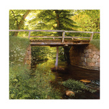 A Forest Stream with a wooden Bridge Giclee Print by Marcus Bech		 Fritz
