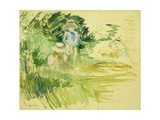Children by the Side of a Lake Giclee Print by Berthe		 Morisot