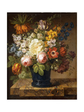 Flowers in a Vase on a Marble Ledge with a Red Admiral, a Bumble Bee, Two Beetles and a Dragonfly Giclee Print by Joseph Laurent		 Malaine