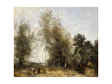 Group Of Trees at the Edge of a Pond with Three Peasants Giclee Print by Jean-Baptiste-Camille Corot