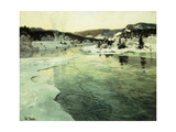 Winter on the Mesna River near Lillehammer Print by Frits		 Thaulow