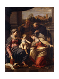 The Madonna and Child with Saints Lucy, Dominic and Louis of France Poster by Annibale		 Carracci