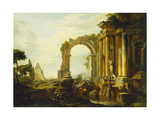 A Capriccio of Classical Ruins with the Pyramid of Cestius and Figures in a Landscape Premium Giclee Print by Giovanni Paolo		 Panini