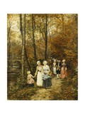 The Afternoon Stroll Print by Marie Francois		 Firmin-Girard