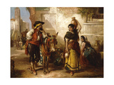 A Chat at the Fountain, Seville Giclee Print by Thomas Kent		 Pelham