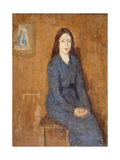 A sitting Girl wearing a Spotted Blue Dress Giclee Print by Gwen		 John